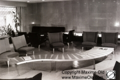 Large Wave Table zigzag legs & light marquetry top - Maxime Old Modern Art Furniture