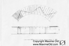 Zigzag legs & Inlay Wave Table drawing - Maxime Old Modern Art Furniture