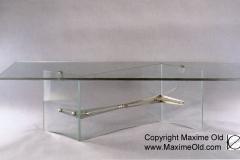 Zigzag legs & glass Iceberg Table - Maxime Old Modern Art Furniture