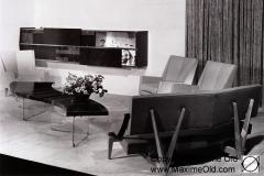 Table Vague zigzag et marqueterie de stratifié Maxime Old Meubles Modernes d'Art