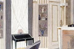 008 Ruhlmann Projet gouaché du Boudoir de l'Hôtel du Collectionneur